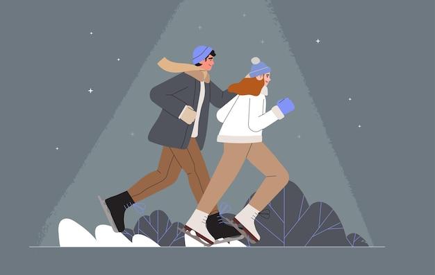Pessoas curtindo patinação no gelo no parque de inverno Vetor Premium