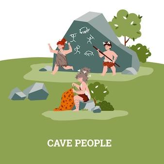 Pessoas da caverna pré-histórica da vida na idade da pedra, mulher costurando roupas, crianças brincando