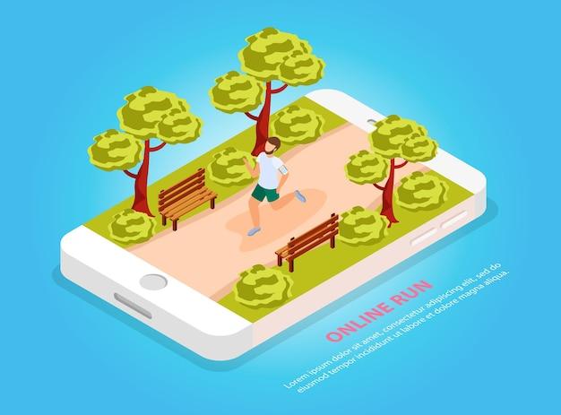 Pessoas da cidade treinam on-line, executam a composição isométrica da comunidade com o corredor no parque na tela do celular