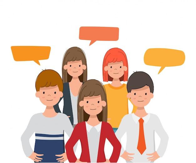 Pessoas da comunidade de redes sociais para conversar.