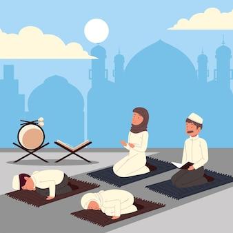 Pessoas da cultura muçulmana orando em tapetes