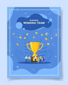 Pessoas da equipe vencedora de negócios diante da queda da moeda do grande troféu