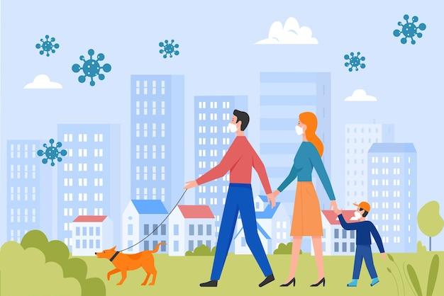 Pessoas da família com máscaras de proteção facial caminham no parque de verão da cidade