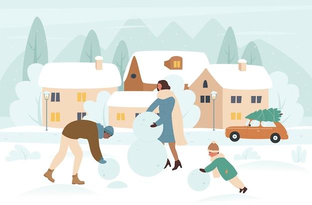Pessoas da família fazendo boneco de neve na ilustração de férias de inverno de natal.