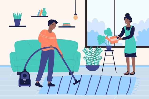 Pessoas da família limpam a casa, personagens de desenhos animados limpando o quarto, trabalhando juntos em casa
