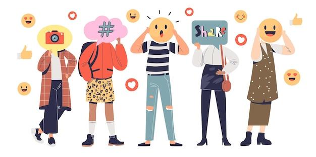 Pessoas da geração y que usam a mídia social para compartilhar emoções, postar e fazer blogs. engajamentos de influenciadores para o conceito de comunicação de rede. ilustração em vetor plana dos desenhos animados