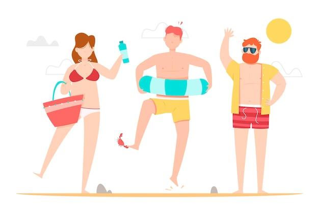 Pessoas da praia se divertindo