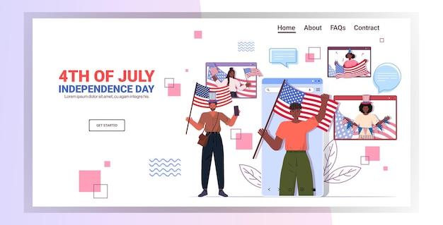 Pessoas da raça mista segurando bandeiras dos eua comemorando, página inicial da independência de 4 de julho