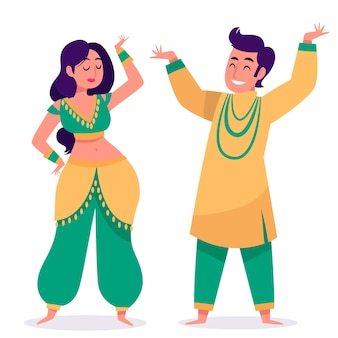 Pessoas dançando bollywood ilustrado conceito