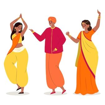 Pessoas dançando bollywood ilustrado