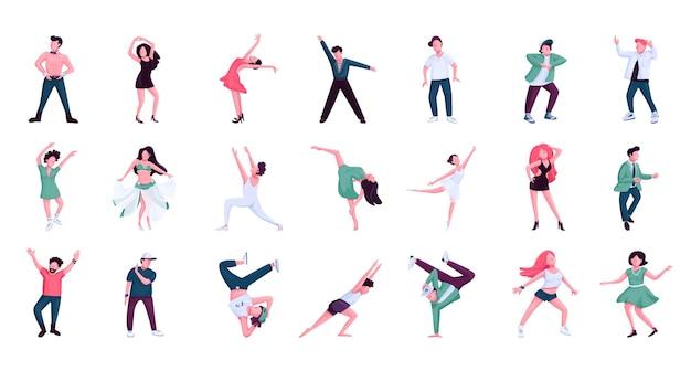 Pessoas dançando conjunto de caracteres sem rosto de vetor de cor lisa. bailarinos, dançarinos de hip hop masculinos e femininos. estilos de dança históricos e contemporâneos isolados de ilustrações de desenhos animados em fundo branco