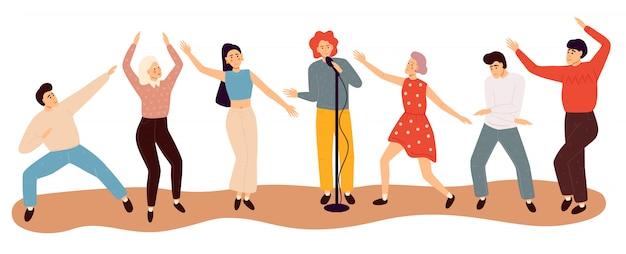Pessoas dançando felizes. ilustração plana colorida.
