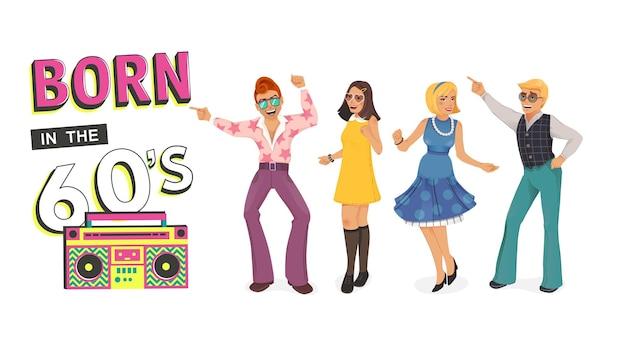 Pessoas dançando na discoteca retro. estilo de homem e mulher. ilustração dos desenhos animados.