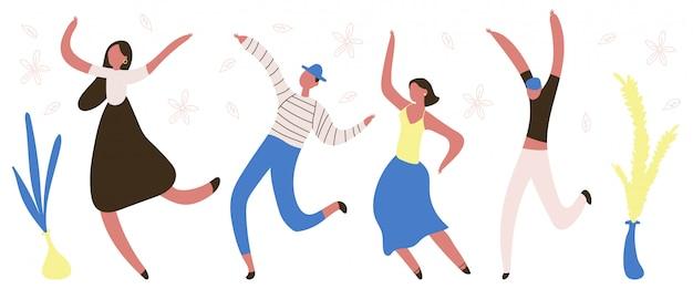 Pessoas dançando personagens planas.