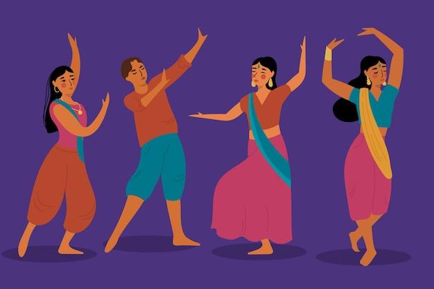 Pessoas dançando tema de ilustração de bollywood