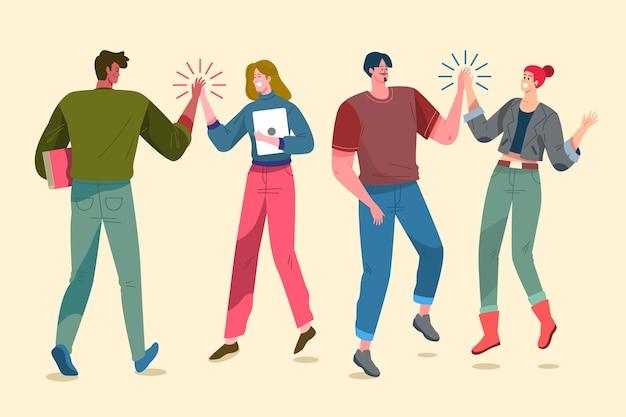 Pessoas dando alta cinco ilustração design