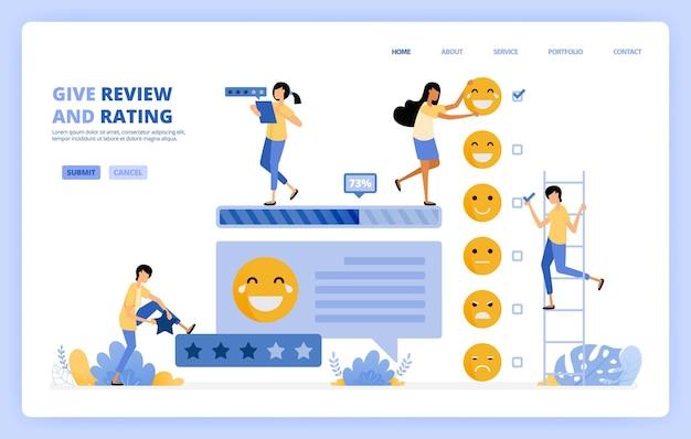 Pessoas dão ilustração da pesquisa de feedback