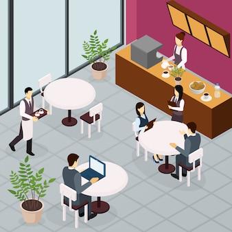 Pessoas de almoço de negócios isométrica