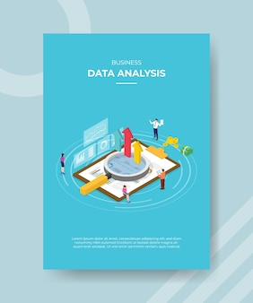Pessoas de análise de dados de negócios em torno de lupe gráfico prancheta para cima dinheiro