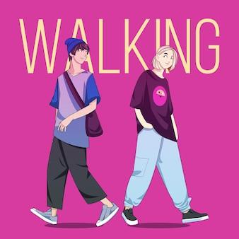 Pessoas de anime gradiente andando na rua