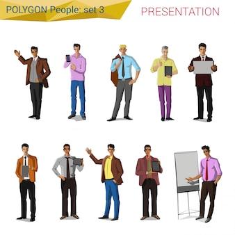Pessoas de apresentação estilo poligonal conjunto de ilustrações.