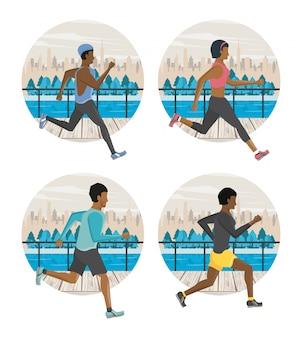Pessoas de aptidão correndo em volta de ícones
