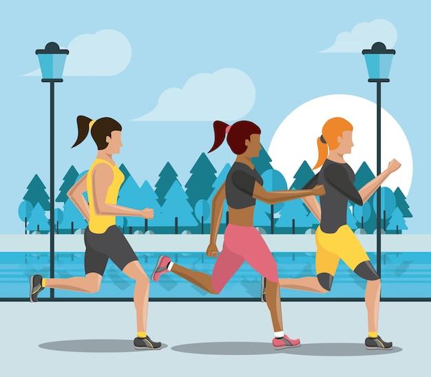 Pessoas de aptidão correndo silhueta
