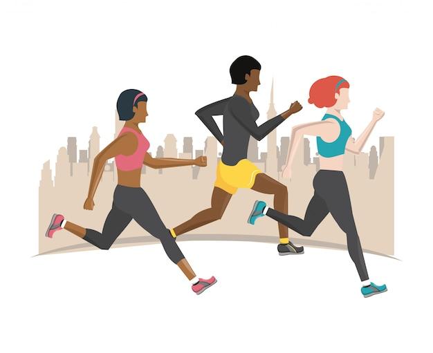 Pessoas de aptidão correndo
