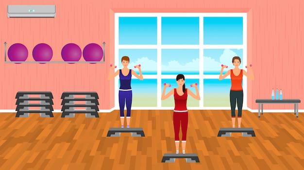 Pessoas de aptidão em roupas esportivas. grupo de mulheres na academia. personagens do esporte. estilo de vida saudável.