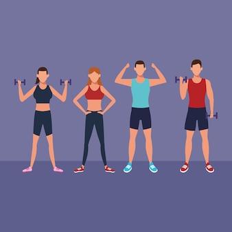 Pessoas de aptidão fazendo exercício