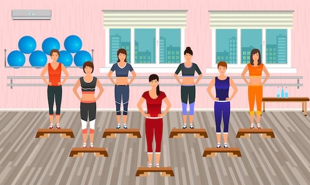 Pessoas de aptidão no ginásio. atléticas mulheres fazendo exercícios. personagens do esporte. estilo de vida saudável.