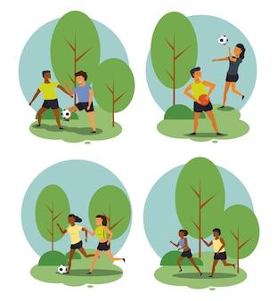 Pessoas de aptidão que treinam desenhos animados de esportes