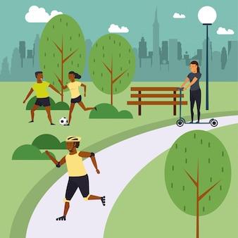 Pessoas de aptidão, treinamento no parque