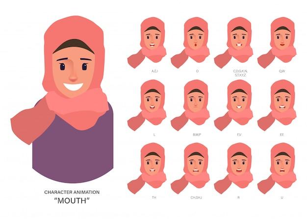 Pessoas de avatar de caráter árabe ou muçulmano coleção de sincronização labial para animação de boca.
