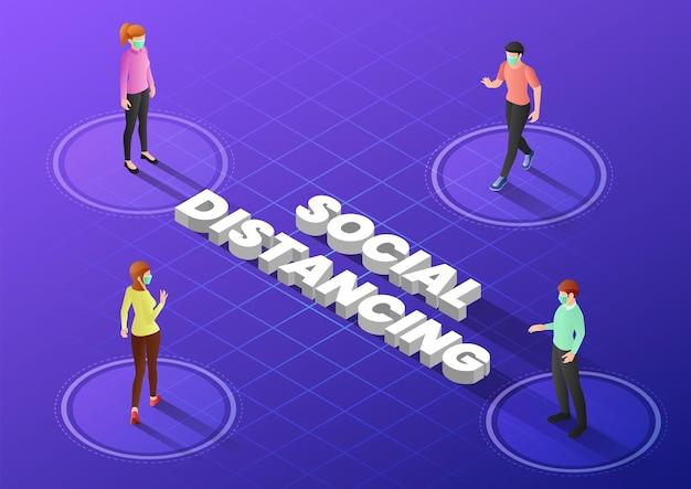 Pessoas de banner web isométrico 3d mantêm distância na sociedade pública para evitar a propagação do vírus covid19