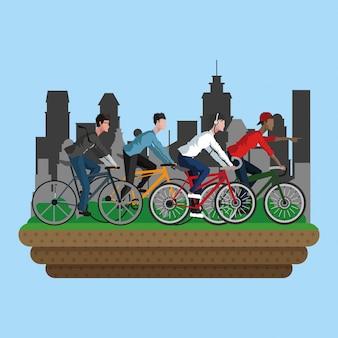 Pessoas de bicicleta na cidade