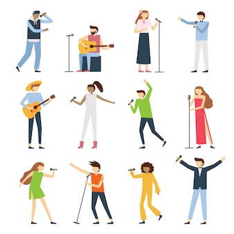 Pessoas de cantores músicos. artista vocal, cantando diva opera com microfone e músicos cantam conjunto de concertos de música