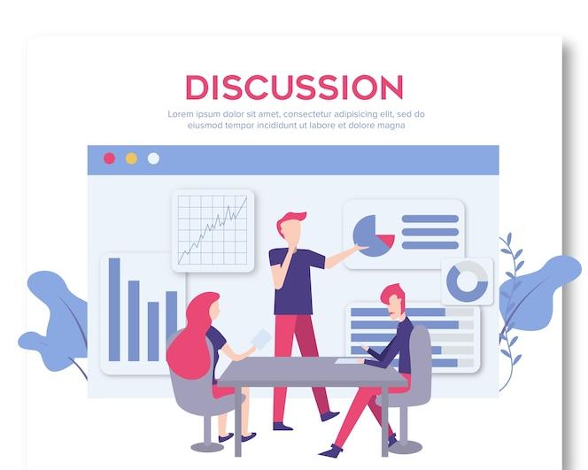 Pessoas de caráter de conceito de discussão de negócios