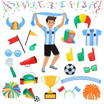 Pessoas de caráter de futebol fã de futebol com espuma de mão de esportes e conjunto de ilustração soccerball de futebol sportsfan pessoas gritando no jogo de futebol isolado no fundo branco