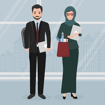 Pessoas de caráter de negócios muçulmano