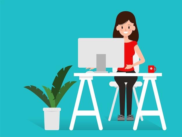 Pessoas de caráter trabalhando ou trabalho freelance. Vetor Premium