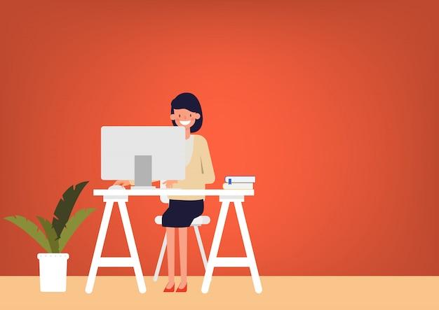 Pessoas de caráter trabalhando ou trabalho freelance.