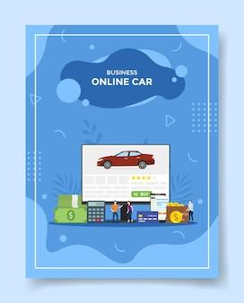 Pessoas de carros on-line de negócios em torno de um carro de calculadora de dinheiro no computador de exibição