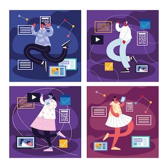 Pessoas de cartões com ícones de mídias sociais