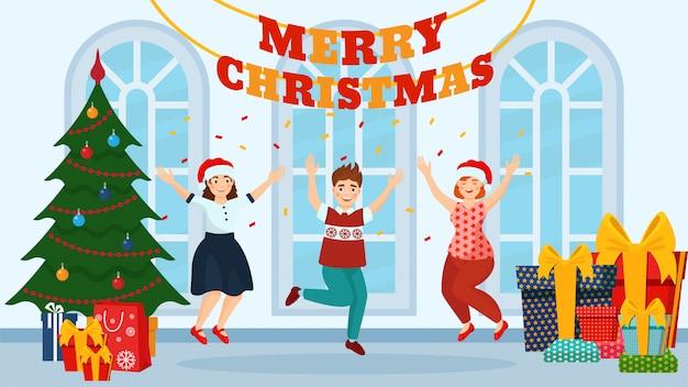 Pessoas de celebração de festa de natal com árvore de natal e presentes