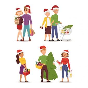 Pessoas de compras de natal