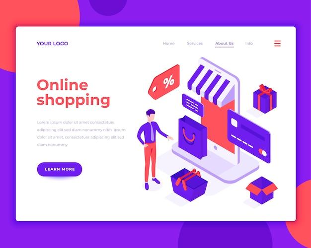Pessoas de compras on-line e interagir com ilustração vetorial isométrica de loja