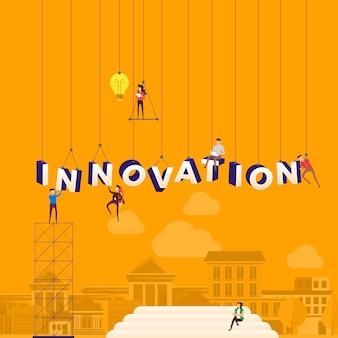 Pessoas de conceito que trabalham para a construção de inovação de texto. ilustração.