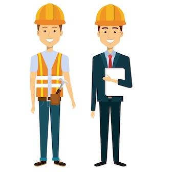 Pessoas de construção profissional personagens ilustração vetorial design