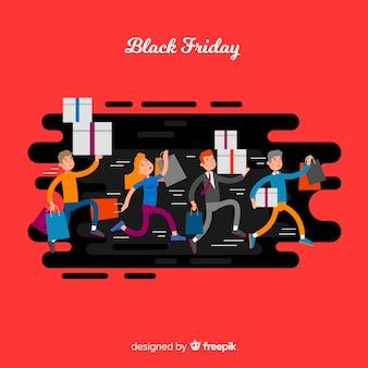 Pessoas de desenho animado correndo fundo preto de sexta-feira
